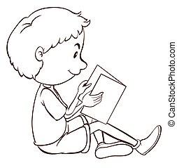 jongen, vlakte, studerend , schets
