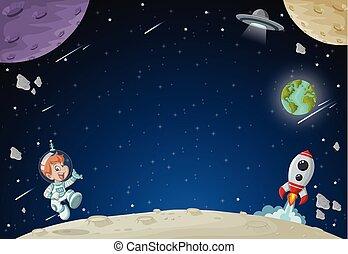 jongen, vliegen, ruimtevaarder, spotprent