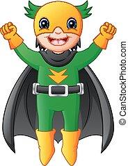 jongen, vliegen, superhero, spotprent