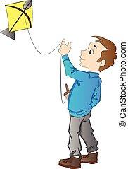 jongen, vliegende een kiekendief, illustratie