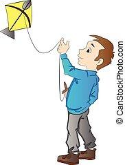 jongen, vlieger, vliegen, illustratie