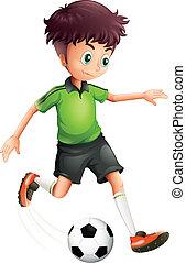 jongen, voetbal, groen hemd, spelend
