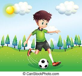 jongen, voetbal, heuvel, spelend