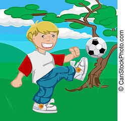 jongen, voetbal, illustratie