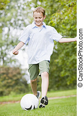 jongen, voetbal, jonge, spelend