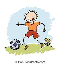 jongen, voetbal, spelend