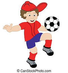 jongen, voetbal, spotprent, spelend