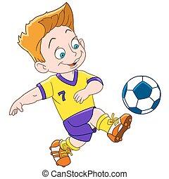 jongen, voetbal, spotprent, speler