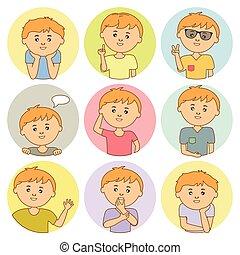 jongen, vrolijke , circulaire, venster., lachen