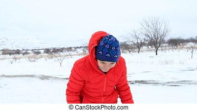 jongen, vrolijke , winter, verticaal