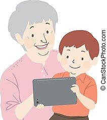jongen, vrouw, tablet, illustratie, senior, geitje