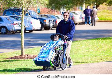 jongen, wandelende, vader, wheelchair, park, invalide