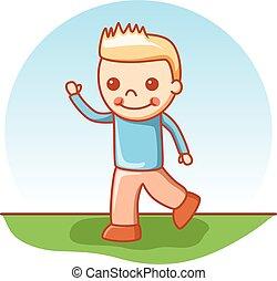 jongen, wandelende, vector, spotprent, doodle