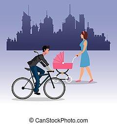 jongen, wandelende, vrouw, stad, rijden, fiets, achtergrond, kinderwagen