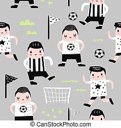 jongen, weefsel, kinderen, gekke , model, kinderachtig, voetbal, player., wallpaper., illustratie, seamless, jongens, vector, achtergrond, omhulsel, voetbal, afdrukken