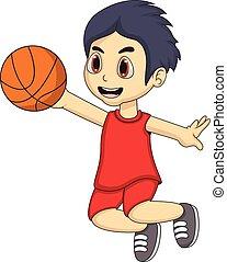 jongen, weinig; niet zo(veel), basketbal, spelend