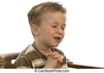 jongen, weinig; niet zo(veel), biddend