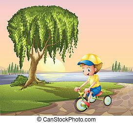 jongen, weinig; niet zo(veel), biking