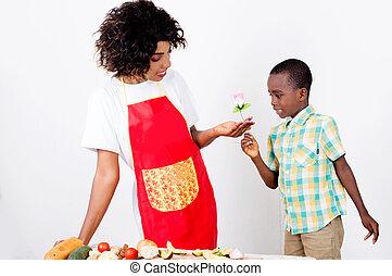 jongen, weinig; niet zo(veel), bloem, geven, zijn, mother.