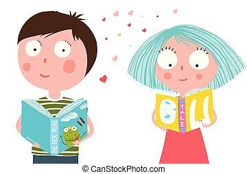 jongen, weinig; niet zo(veel), boek, girl lezen