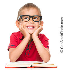 jongen, weinig; niet zo(veel), boek, lezende