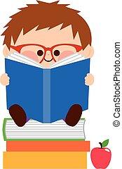 jongen, weinig; niet zo(veel), books., illustratie, vector, lezende