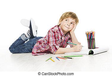 jongen, weinig; niet zo(veel), creatief, artistiek, kind, tekening, potlood, geitje