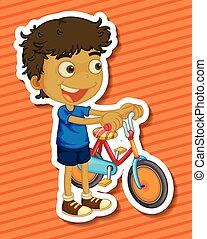 jongen, weinig; niet zo(veel), fiets helpend