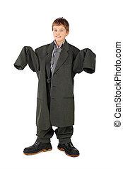jongen, weinig; niet zo(veel), groot, grijze , laarzen, vrijstaand, achtergrond, kostuum, witte , man's, stabding
