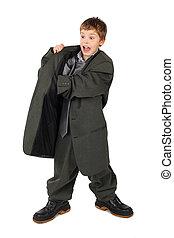 jongen, weinig; niet zo(veel), groot, grijze , laarzen, vrijstaand, zak, achtergrond, kostuum, hand, witte , man's