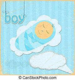 jongen, weinig; niet zo(veel), grunge, ouderwetse , beeld, achtergrond