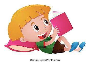 jongen, weinig; niet zo(veel), het boek van de lezing