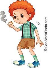 jongen, weinig; niet zo(veel), het proberen, rook, sigaret