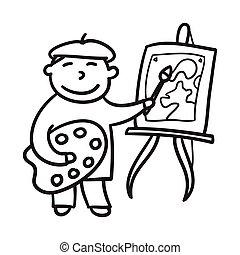 jongen, weinig; niet zo(veel), illustration., artist., hand, vector, kind, getrokken, painting., tekening