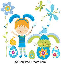 jongen, weinig; niet zo(veel), kostuum, konijntje
