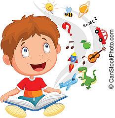 jongen, weinig; niet zo(veel), lezende , c, boek, opleiding