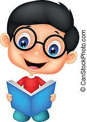 jongen, weinig; niet zo(veel), lezende , spotprent, boek