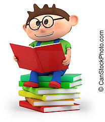jongen, weinig; niet zo(veel), lezende