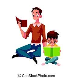 jongen, weinig; niet zo(veel), lezende , zittende , jonge, boekjes , gekruiste benen, man