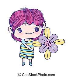 jongen, weinig; niet zo(veel), mooi, schattig, vasthoudende bloem, spotprent