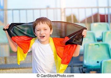 jongen, weinig; niet zo(veel), nationale, voetbal, -, duitsland, team, ventilator