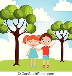 jongen, weinig; niet zo(veel), natuur, het koesteren, buiten, meisje, vriendschap, vrolijke