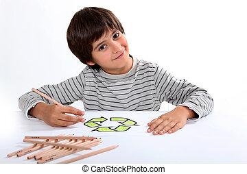 jongen, weinig; niet zo(veel), papier, tekening, logo