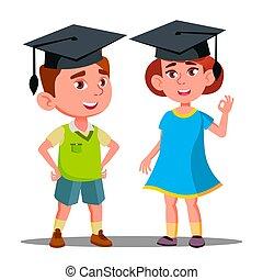jongen, weinig; niet zo(veel), pet, vrijstaand, illustratie, afstuderen, groot, vector., meisje