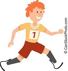 jongen, weinig; niet zo(veel), prostheses., loper, atleet, jonge, invalide, achtergrond., stijl, witte , spotprent
