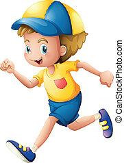 jongen, weinig; niet zo(veel), rennende