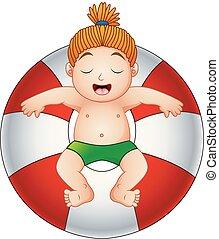 jongen, weinig; niet zo(veel), ring, inflatable, relaxen