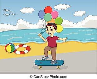 jongen, weinig; niet zo(veel), schaatsen, spelend, plank