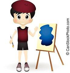 jongen, weinig; niet zo(veel), schilderij, kunstenaar