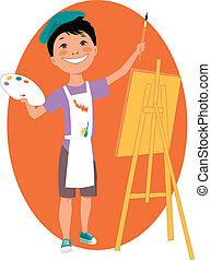 jongen, weinig; niet zo(veel), schildersezel, schilderij